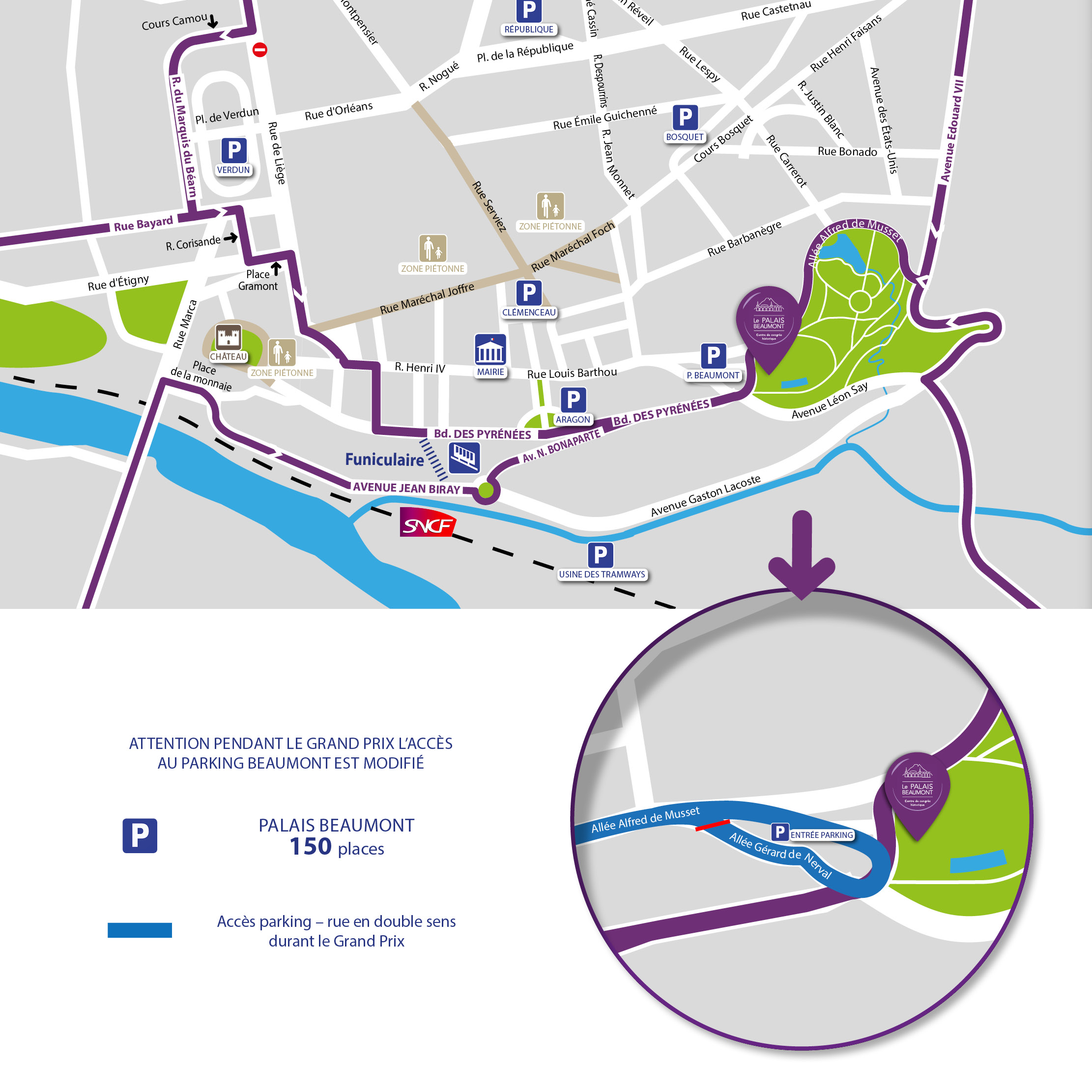 Plan accès parking beaumont pendant Grand Prix automobile general et loupe palais beaumont 2016